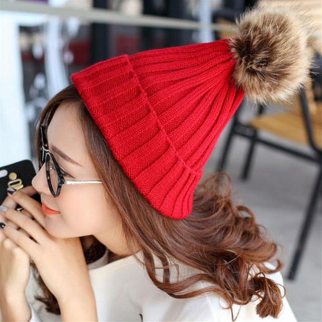 Mulheres moda Inverno Chapéus Beanie Crochet Quente Chapéu de Malha Grossa Outono Capô Mink Pom Poms Pompons Pele de raposa Fêmea Senhoras Menina W1