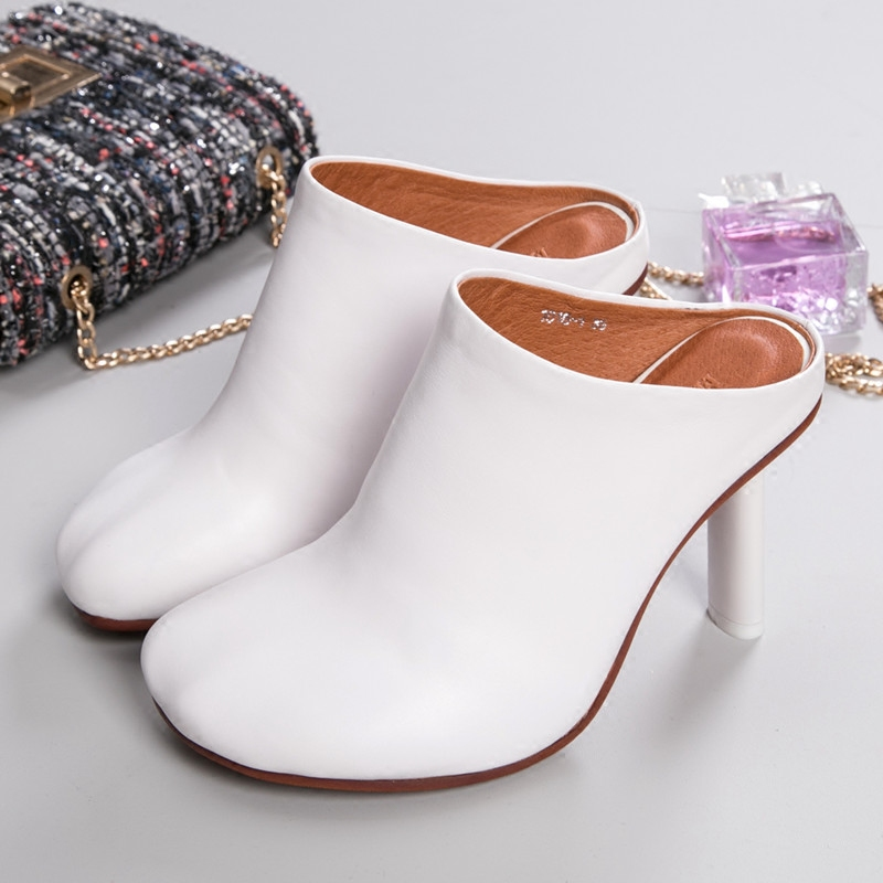 ФОТО 2016 summer girls round PU leather sexy fashion high heels deep mouth closed toe slipper sandals women white black designer shoe