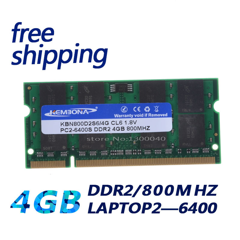 KEMBONA New 4GB pc2 6400 ddr2 800 MHz 200pin sodimm Laptop notebook RAM SO-DIMM free shipping