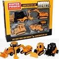 4 unids/set vehículos de construcción de aleación y plástico amarillo Carretillas Elevadoras Excavadoras Excavadoras Cultivadores niño niños juguetes