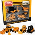 4pcs/set alloy and plastic yellow construction vehicles Forklifts Bulldozers Excavators Cultivators  boy kids toys