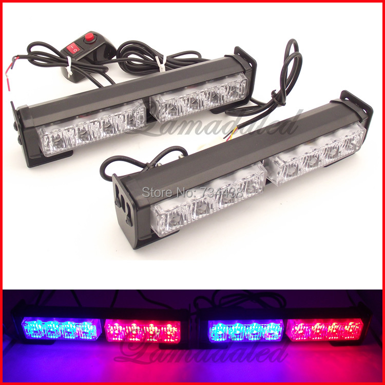 2x8led Police strobe lights bar auto vehicle flash lamp 16LED car warning strobe light emergency lamp RED BLUE WHITE AMBER GREEN