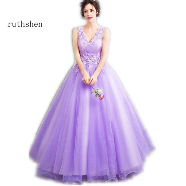 ruthshen Light Purple Sweet 16 Dresses V-Neck Appliques Beaded Quinceanera  Ball Gowns Cheap Debutante Masquerade Prom Dress edc5d30923f2