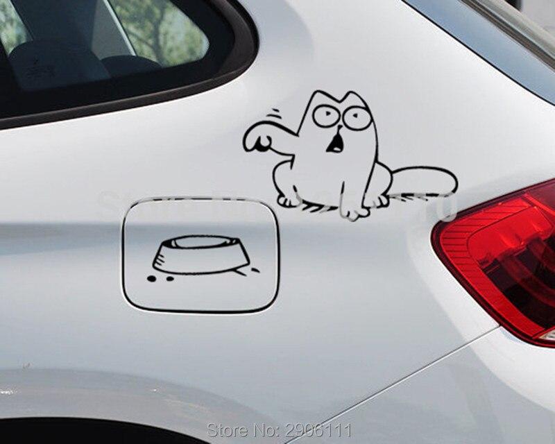 Hungry Simons cat bowl car sticker gas tank cap for Skoda octavia fabia yeti rapia superb octavia a7 a5 2 octavia car-styling