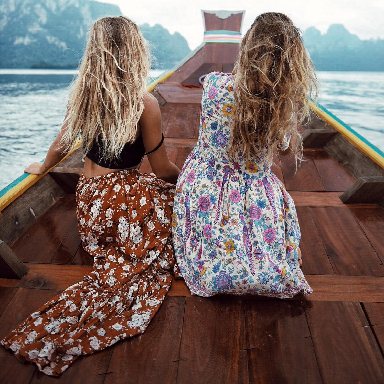 Viven Leigh Boho Hippie Klänning Retro Bohemian Etnisk Stil Djup - Damkläder - Foto 2