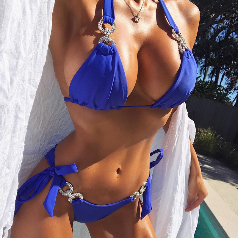 Baño bikini Diamond Crystal baño mujeres nude brasileño bikinis rhinestone beachwear push up bikini 2018 biquini