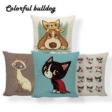 Pillow-Cover Cushion Siamese Letter Boho-Room 43cm Burlap Raccoon Lightning Dog Dakimakura