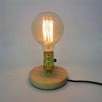 E27 Nordic Wooden Table Lamps Edison Antique Light Decorative Fixtures Creative Retro Wooden Round Table Light