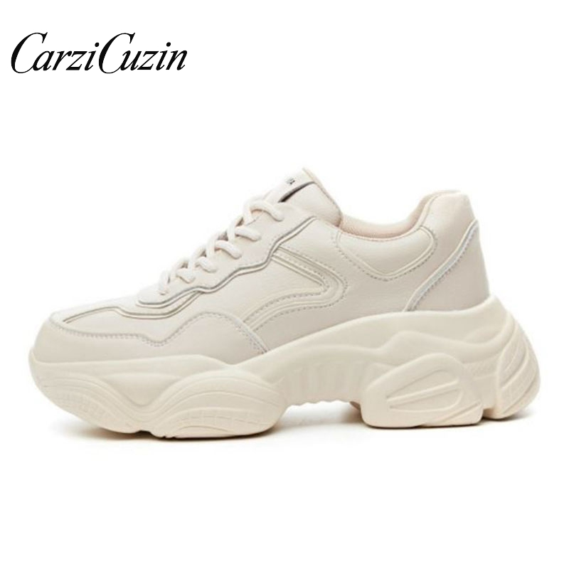 Carzicuzin Spring Women Casual Shoes Real Leather Platform Shoes Women Sneakers Ladies White Trainers Chaussure Femme Size 35-39Carzicuzin Spring Women Casual Shoes Real Leather Platform Shoes Women Sneakers Ladies White Trainers Chaussure Femme Size 35-39