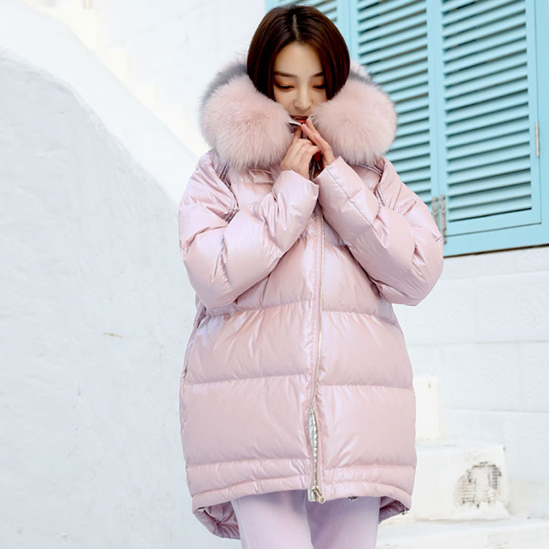 Big Natural Fox Fur 2019 Winter Jacket Women Real Fur   Coat   Female Long   Down   Parkas Duck   Down   Jacket Waterproof Hooded Warm   Coats
