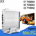 Gen kaby lago fanless mini pc windows 10 nettop com core i7 7500U 7200U 7100U 4 K VGA HDMI HTPC i3 i5 Wi-fi HD Graphics 620