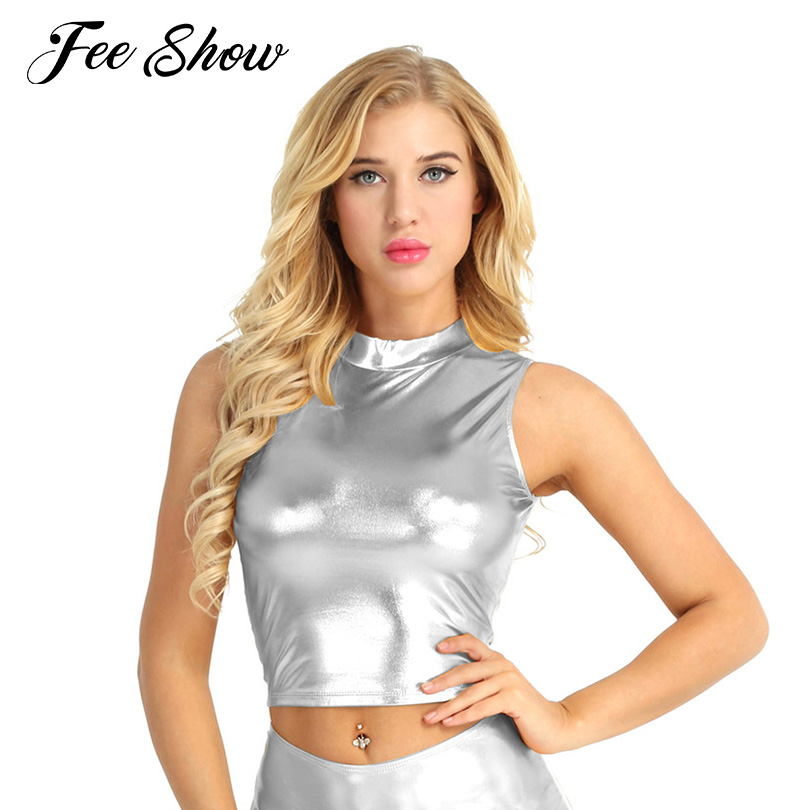 dd820e05226f8 Detail Feedback Questions about Black Women Fashion Wet Look Faux Leather Sleeveless  Mock Neck Turtleneck Crop Tank Tops Women s Shiny Casual Stretchy Tank ...