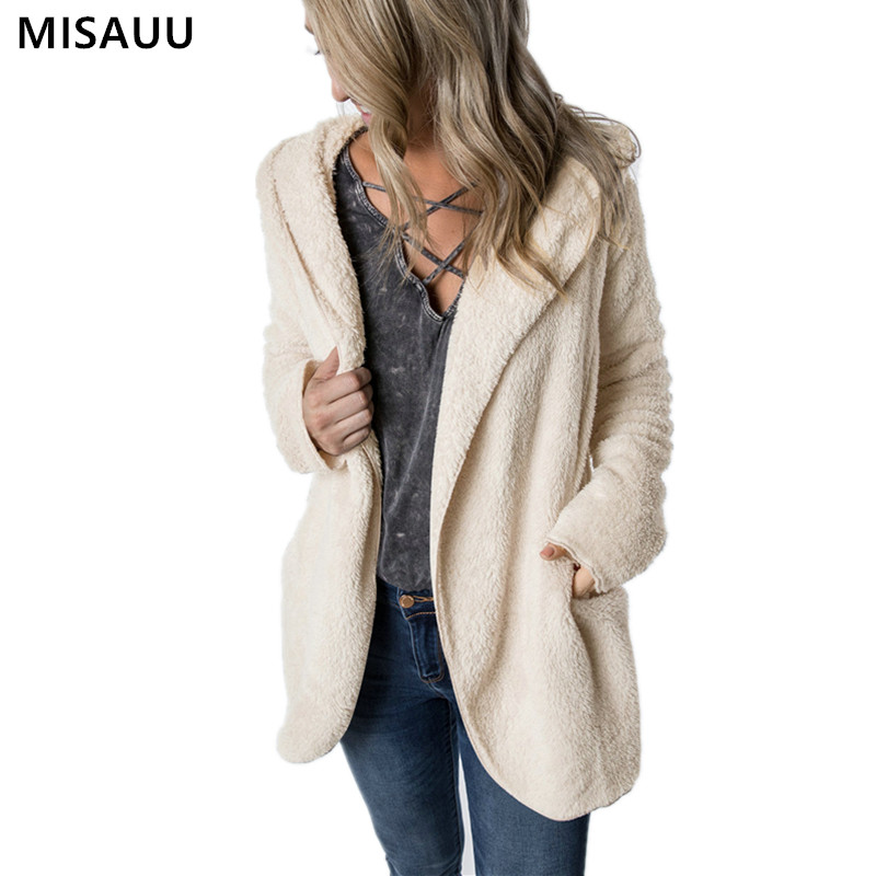 MISAUU 2019 Women Jack Coat Autumn Long Sleeve Hooded Fleece Coat Jacket Casual Pocket Kimono Female Loose Open Front Outwear