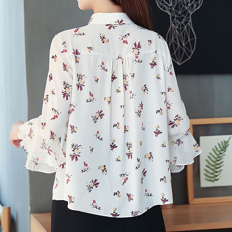 New short sleeve Chiffon blouse 2019 Summer Office Lady Casual loose print Women tops and blouse 2760 50 in Blouses amp Shirts from Women 39 s Clothing