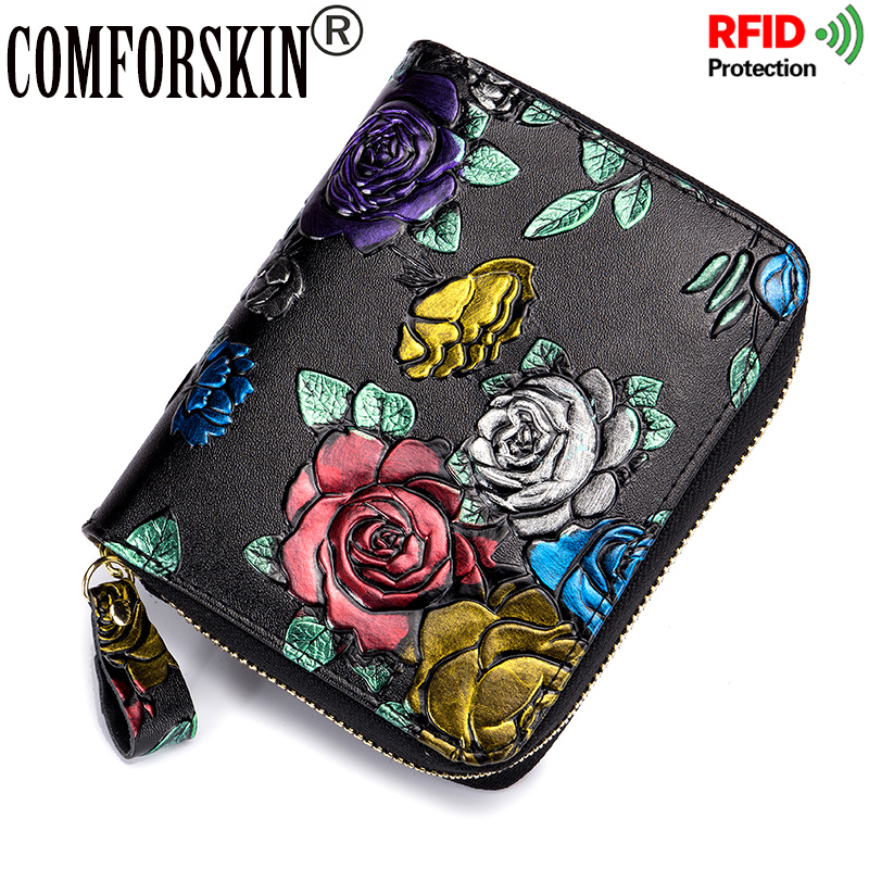 COMFORSKIN Brand RFID Protection Womens Card Wallets European and American Embossing Rose Multi-card Bit Ladies Purses 2018