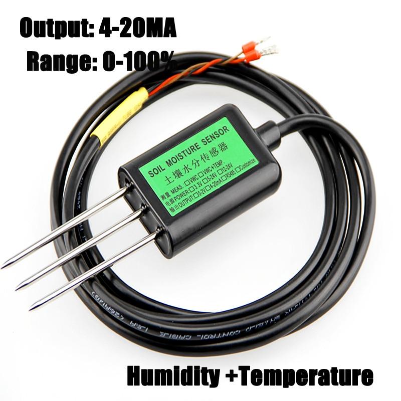 Free shipping New 1pc 0 100 Soil sensors 4 20MA output soil moisture sensor humidity temperature