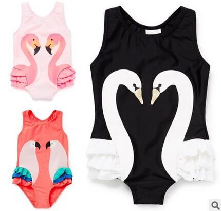 il nuovo nero uccello cigno della neonata di un pezzo del costume da bagno per il