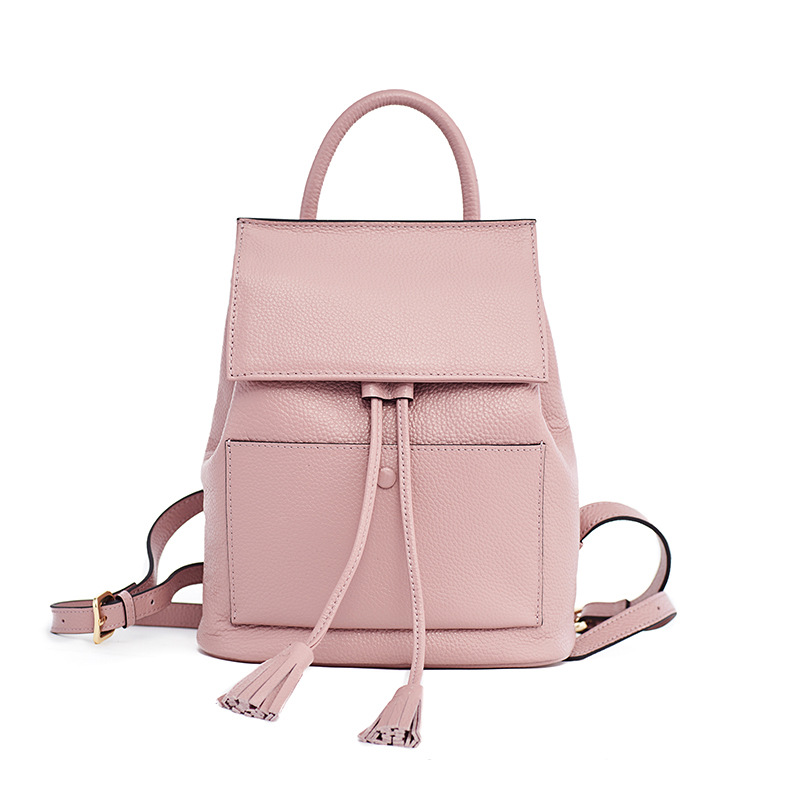 LOEIL Leather simple wild lady shoulder bag top layer leather tassel bucket fashion student backpack bag