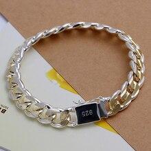 Высококачественный Женский Мужской благородный браслет из стерлингового серебра 925 пробы, ювелирное изделие, мужской браслет с боковой пряжкой 10 м, цвет H091
