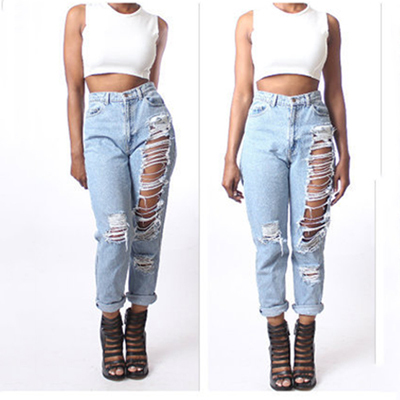 Online Shop Vintage Style Hole Ripped Jeans For Women With Solid ...