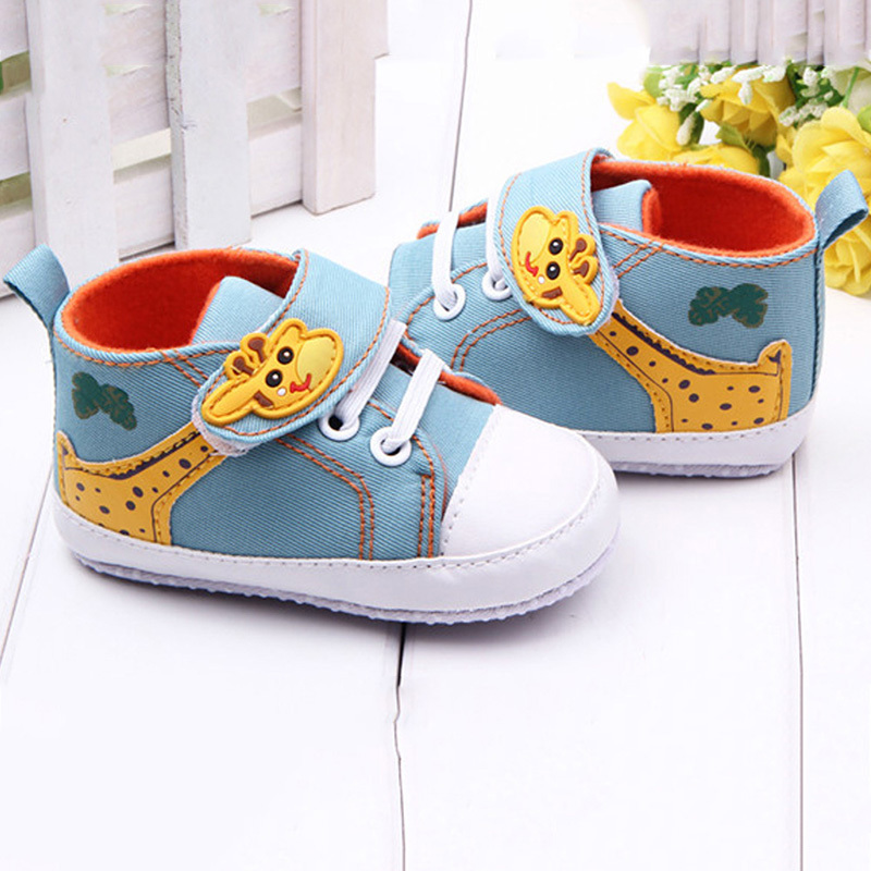 Baby Shoes Boys Cartoon Printed Giraffe Canvas Sneaker Anti-slip Infant Soft Sole High Prewalker