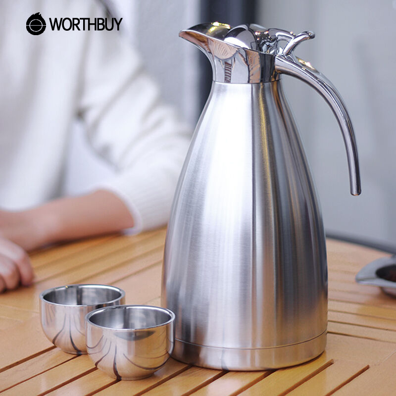 WORTHBUY 2000ml Stainless Steel Thermal Kettle Large Capacity Thermal Water Bottle Pot Vacuum Insulation Flask Camping