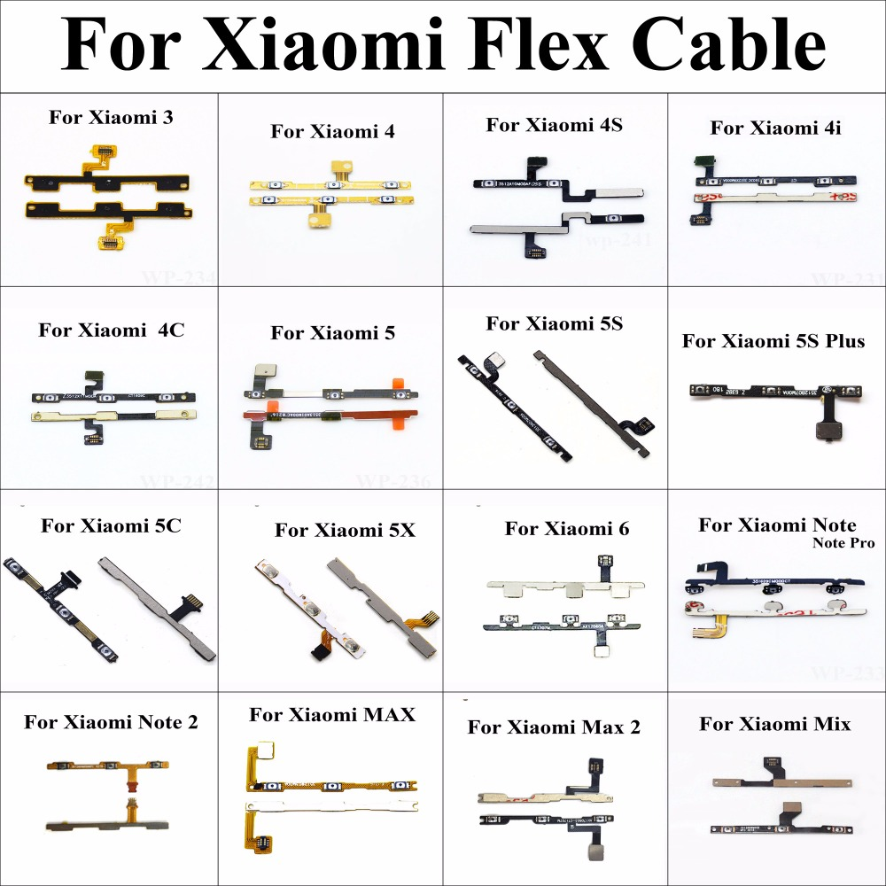 ChengHaoRan Wholesale Flex Cable for Xiaomi 3 4 4S 4i 4C 5 5S Plus 5C 5X 6 Note 2 Pro Max 2 Mix Power On off switch side button