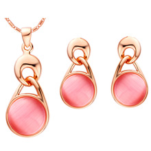 Plated NEW suit 925 Sterling Silver Set cat eye set pendant ear drops spot wholesale water