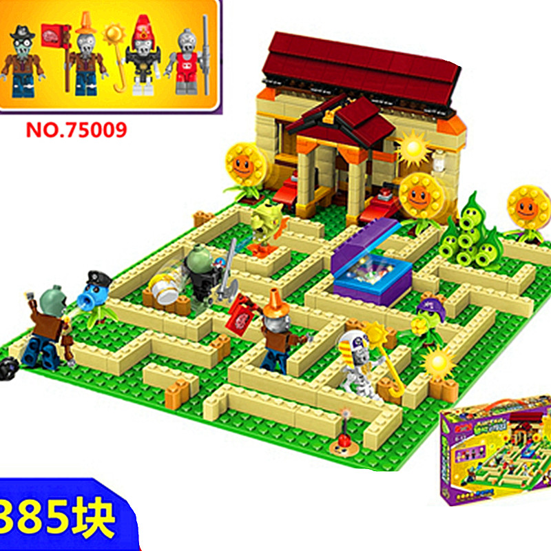 [New] 2018 New2 Style Plants Vs Zombies Set Anime Garden Maze Struck Game Building Blocks Bricks Compatible WithLegoingly Gift(China)