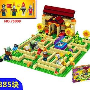 2019 New 2 style plants vs zombies Set Anime Garden Maze Struck Game Building Blocks Bricks Compatible gift(China)