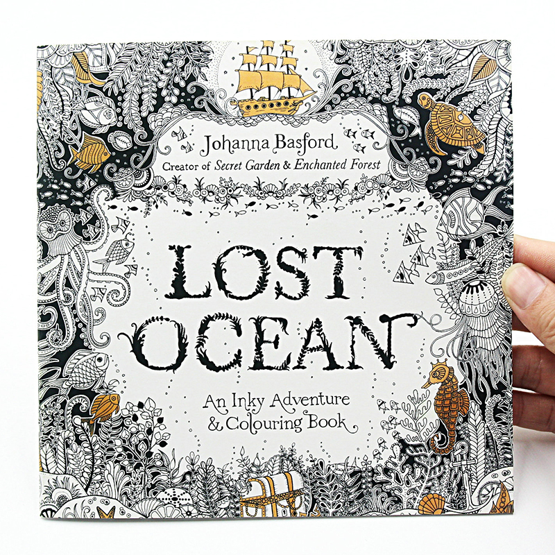 1 PCS New 24 Pages Lost Ocean Inky Adventure Coloring Book For Children Adult Relieve Stress Kill Time Painting Drawing Art Book