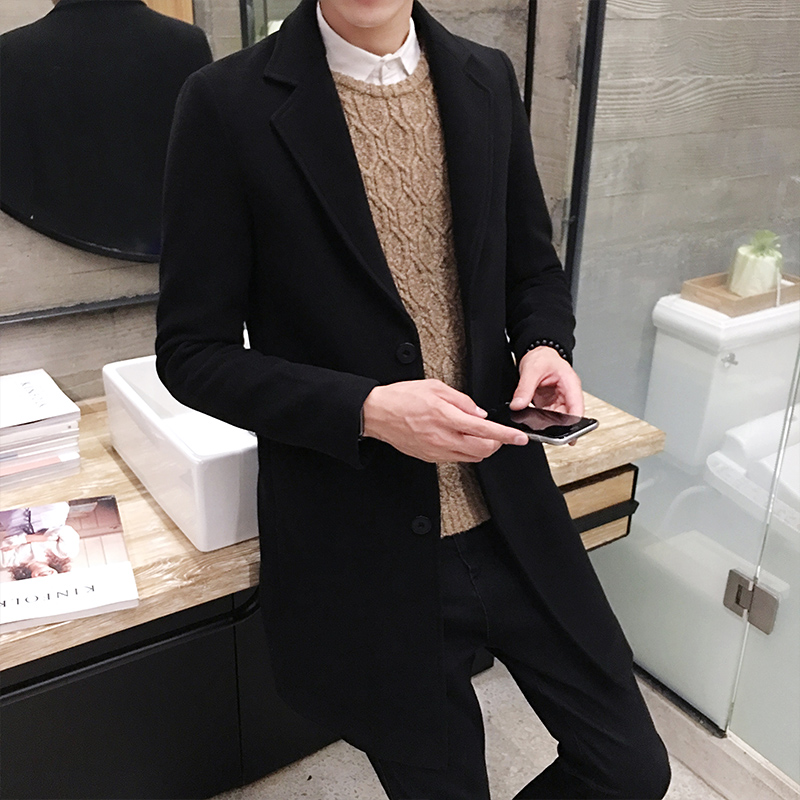 2018 New Winter Wool Coat Men Leisure Long Sections Woolen Coats Mens Pure Color Casual  ...