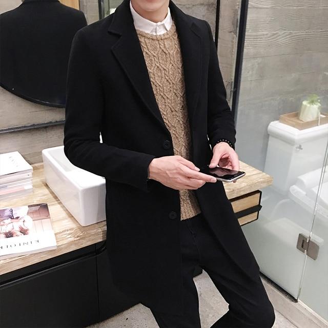 2018 новое зимнее шерстяное пальто Для мужчин для отдыха длинные участки шерстяные Пальто для будущих мам Для Мужчин's Однотонная одежда Повседневное модные Куртки/Повседневное Для мужчин пальто