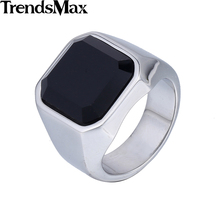 Trendsmax 316L Stainless Steel Smooth Signet Wedding Band Ring Black CZ Mens Boys Fashion Wholesale Dropship Jewelry HRM63
