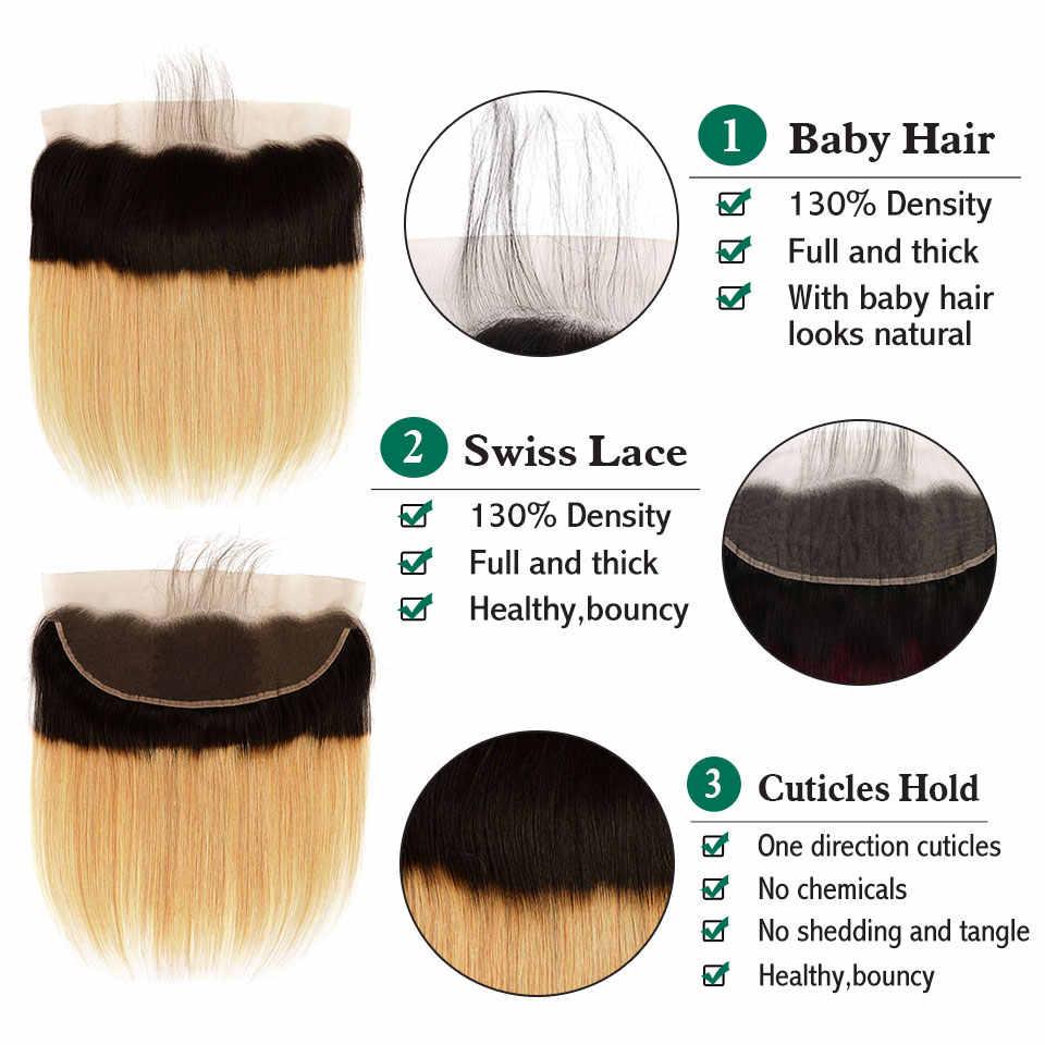 Ombre Sarışın Demetleri Ile 13x4 Kapanışları Güzellik Artı Nonremy 2 Ton 27 Çamaşır Suyu Sarışın düz insan saçı Demetleri Ile Cepheler