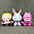 Hot sellin 3pcs/lot Alice In Wonderland 2 Alice Cheshire Cat Mad Hatter March Hare Stuffed Plush Toy pendant Cute Dolls for Kid