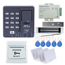 RFID reader finger scanner biometric fingerprint access control X6+180KG magnetic lock+power supply+exit button+10pcs key cards