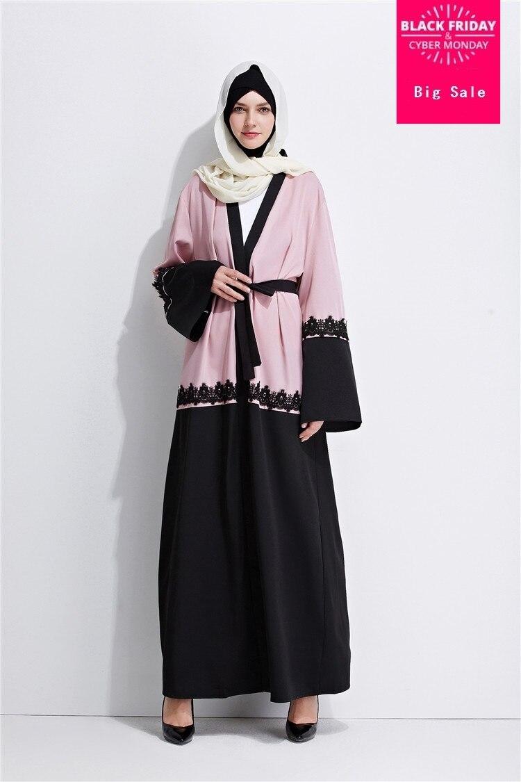2fcd0a14ec00 Adulto bordados rendas cardigan moda dubai abaya Muçulmano islâmico vestido  tamanho grande roupas serviço de oração wj755 frete grátis em Vestuário  islâmico ...