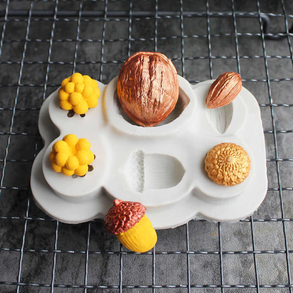 Herramienta de cocina para hornear molde de silicona de decoración de pastel de Fondant DIY con forma de nueces reposteria
