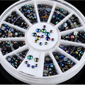 1Pcs Round Wheel Rhinestones Glitter Nail Art Tips Decorations Acrylic Nail Supplies Charms Nail Beads Manicure Nail Accessories