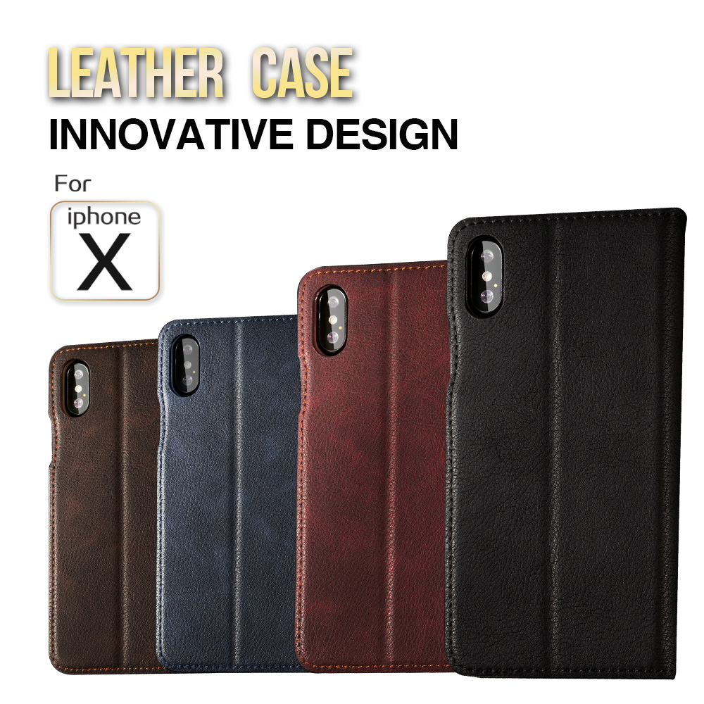 Hand Made for iphone 7 8 Plus case iphone 6 6s Plus Leather Cover Flip Case Luxury iphone X Kickstand Wallet Phone Card Case image