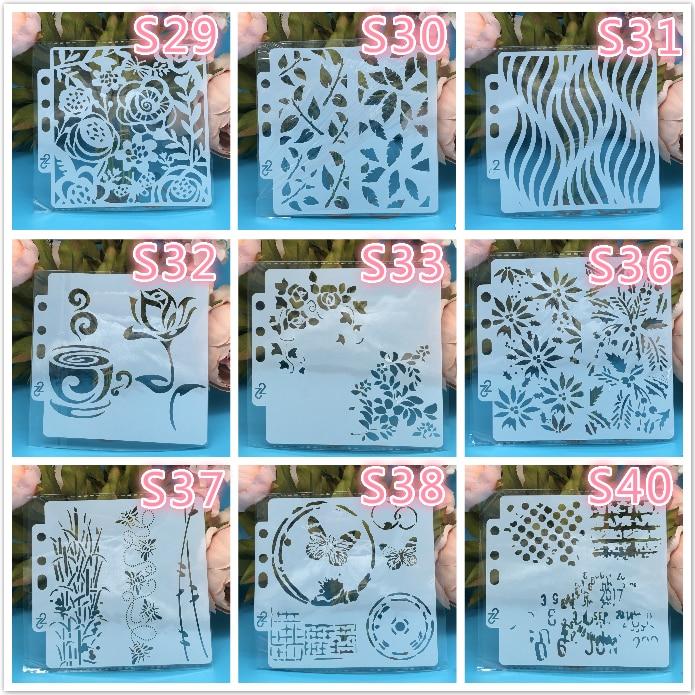 9Pcs/Set 14x13cm Flower Coffee DIY Layering Stencils Painting Scrapbook Coloring Embossing Album Decorative Card Template