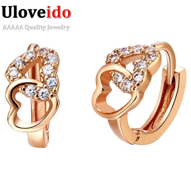 15% Off Uloveido Rose Gold Color Crystal Earrings for Women Heart Earring Vintage Brincos Love Earing for Lover 2017 Gifts R521
