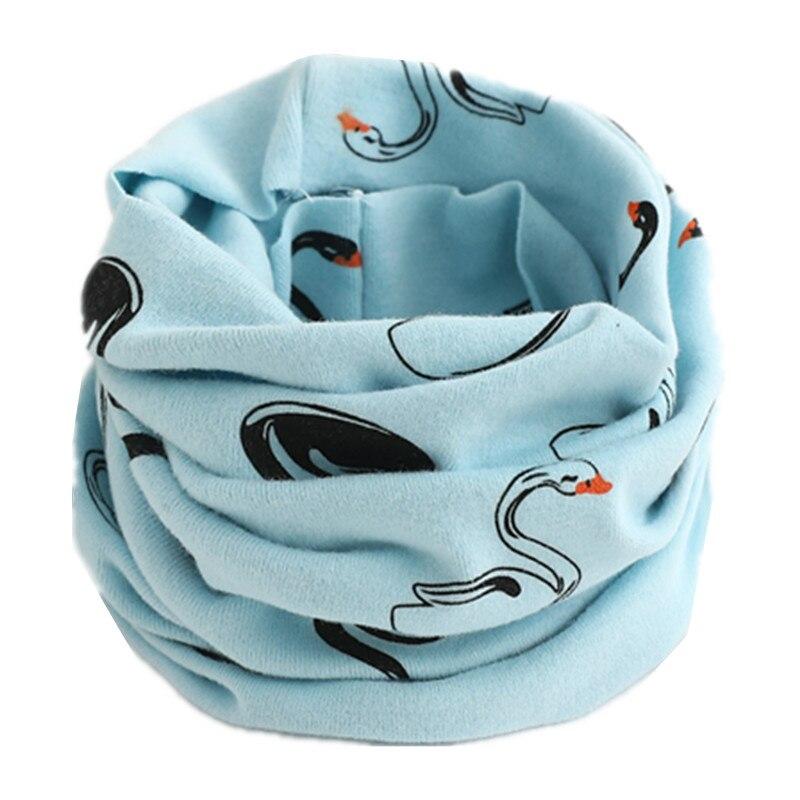 Осенне-зимний детский хлопковый шарф для девочек и мальчиков теплые шарфы Детский круглый кольцевой ошейник Детский шарф детский волшебный шейный платок - Цвет: light blue swan