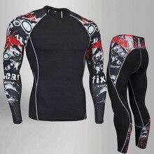 Men Fitness MMA Compression Shirt Rash guard Male Long Sleeve T Bodybuilding Skull Print 3D Tops S-4XL