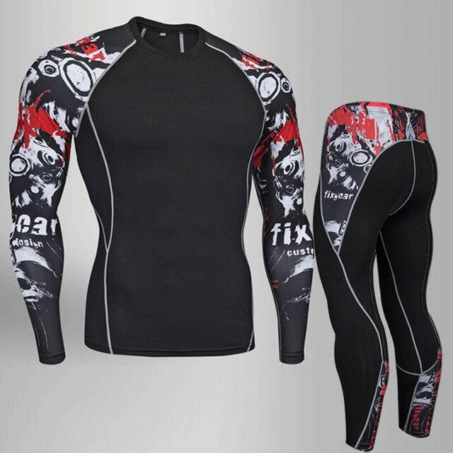 Men Fitness MMA Compression Shirt Men Rash guard Male Long Sleeve T Shirt Crossfit Bodybuilding Men Skull Print 3D T Shirt Tops