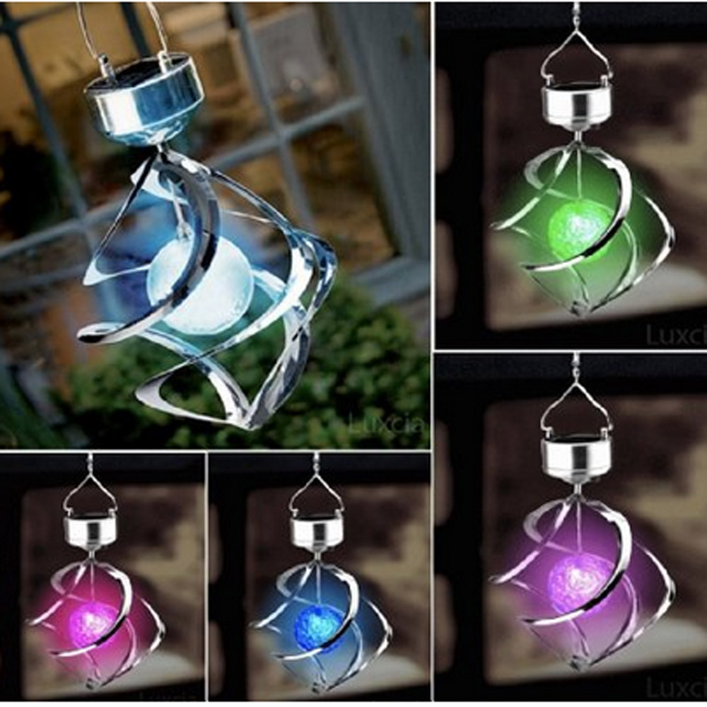 Color Changing Solar Powered Garden Light Outdoor Courtyard Hanging Spiral  Lamp LED Wind Spinner-in Solar Lamps from Lights & Lighting on  Aliexpress.com ...