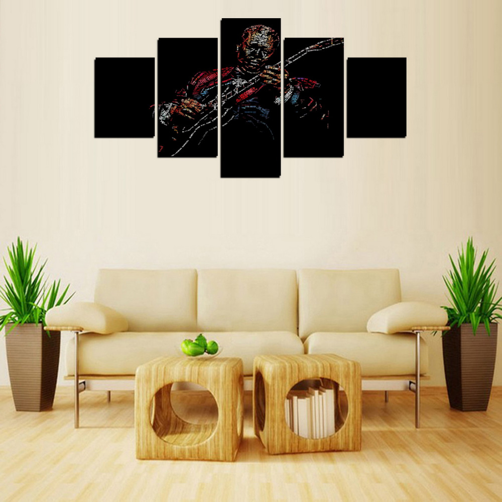 5 Panels Jazz Character Music Man Canvas Print Painting For Living Room Wall Art Picture Gift Home Decoration FIV0046