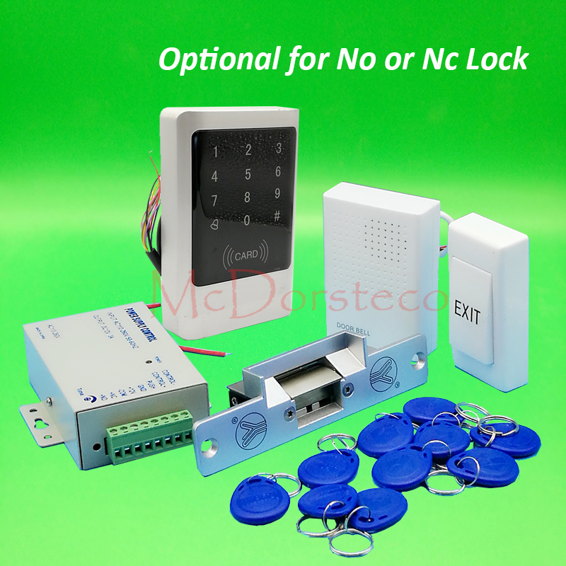 Metal IP68 Waterproof Full 125khz Rfid Door Lock control system Kit No Nc Strike Lock Touch Keypad rfid door Access Control diy waterproof 125khz rfid door access control kit set electric strike lock 10 rfid card outdoor touch keypad access control