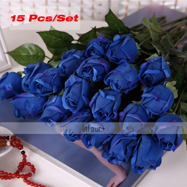 Blue rose vintage home decor flower real touch rose silk flowers blue rose vintage home decor flower real touch rose silk flowers artificial flowers for mightylinksfo Images